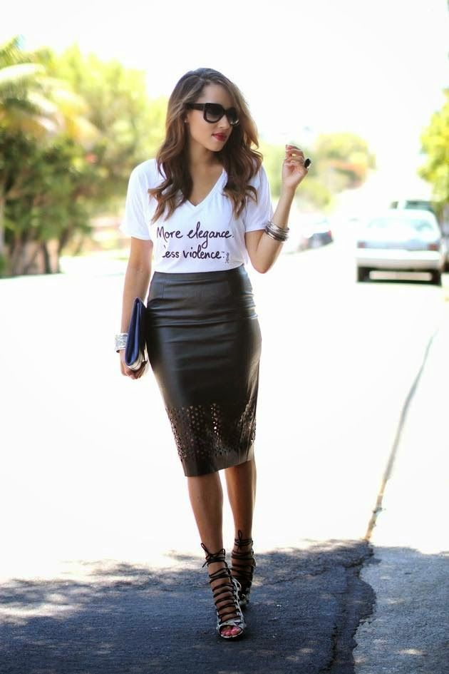 Graphic T Shirt and midi leather skirt