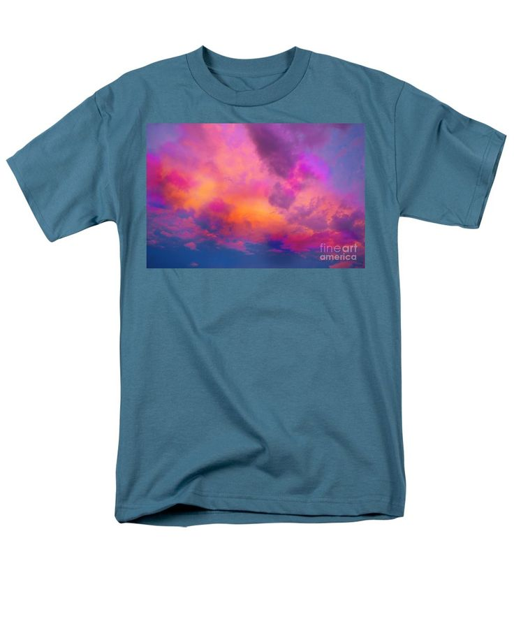 Neon Clouds Bright Vibrant Dramatic Compelling Colorful Manipulation.fuchsia Raspberry Magenta Blue Turquoise Orange Yellow Pale Pink Men's T-Shirt (Regular Fit) featuring the painting Close To Heaven #129 by Expressionistart studio Priscilla Batzell