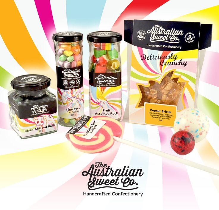 The full range of packing design for the Australian Sweet Co.