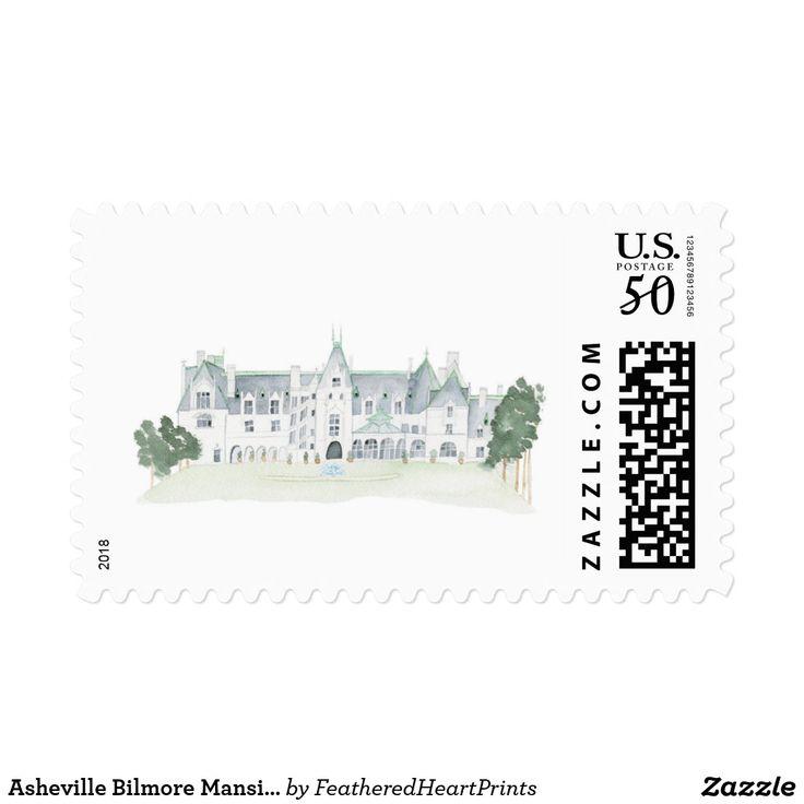 Asheville Bilmore Mansion Inspired Postage Stamps