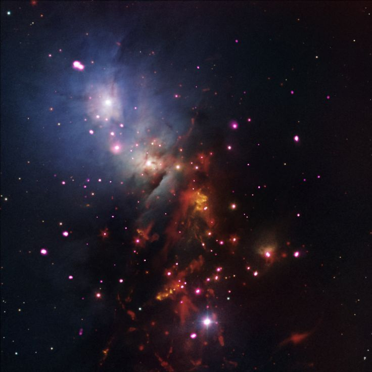"""Composite image of star cluster NGC 1333 - """"While fireworks only last a short time here on Earth, a bundle of cosmic sparklers in a nearby cluster of stars will be going off for a very long time. NGC 1333 is a star cluster populated with many young stars that are less than 2 million years old, a blink of an eye in astronomical terms for stars like the Sun expected to burn for billions of years."""""""