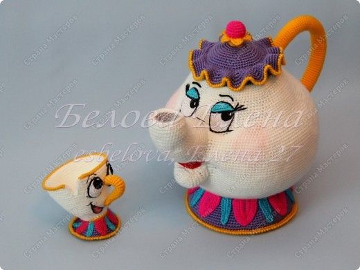 "Toy Crochet: Mrs. Potts and Chip from m / f ""Beauty and the Beast"" Yarn.  No pattern, just photos."