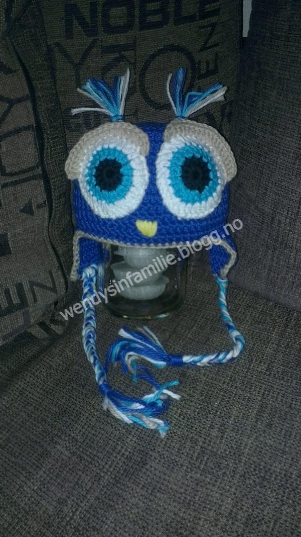crochet owl beanie, hekle uglelue