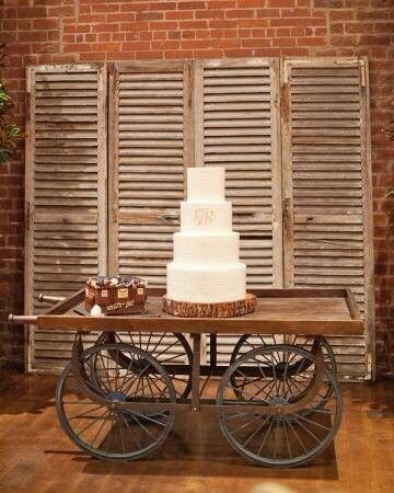 Simple Country Weddings and Vintage Decor Rustic wedding cake display. We have shutters!! Love this Pinterest idea!
