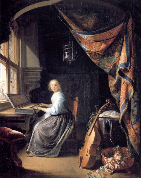 Gerrit  Dou (Dutch, Leiden, 1613 - Leiden, 1675)  - Woman at the Clavicord, 1665 - Dulwich Picture Gallery.