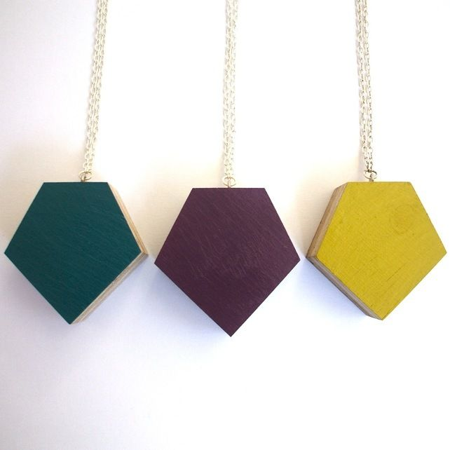 Chunky Plywood Gem Necklace £13.00