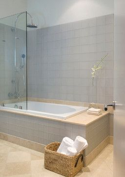 Aqua glass drop in tub design ideas pictures remodel for Drop in bathtub shower combo