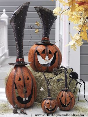 Large Metal Jack O Lanterns, visit our blog to see more Halloween decorating ideas shelleybdecorandmore.blogspot.com