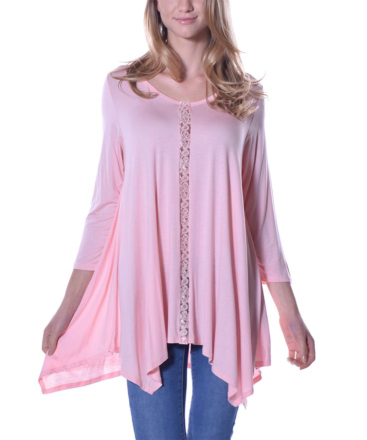 Pink Lace-Accent Sidetail Tunic