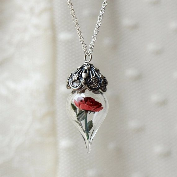 Beauty and the Beast Rose Necklace – Red Rose Glass Silver Necklace – Flower Terrarium – Gift for Wife, Girlfriend – by Woodland Belle