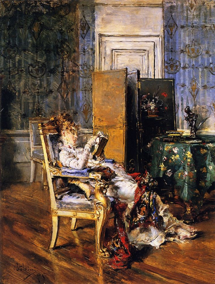 Woman Reading (1876). Giovanni Boldini (Italian, 1842-1931). Tempera on canvas. Boldini's paintings showed his subject in soft-focus, elongated, in movement, alive, and sophisticated. The brush work...