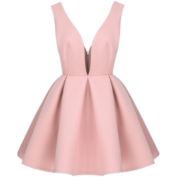 Sheinside Women's Blue/Pink/White V Neck Backless Midriff Flare Dress found on Polyvore