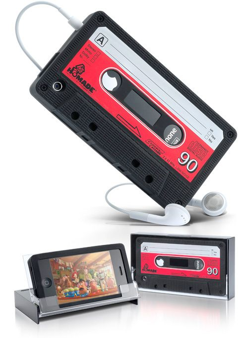 iPhone Retro Cassette Cover Includes A Clear Plastic Case That Doubles As A Stand