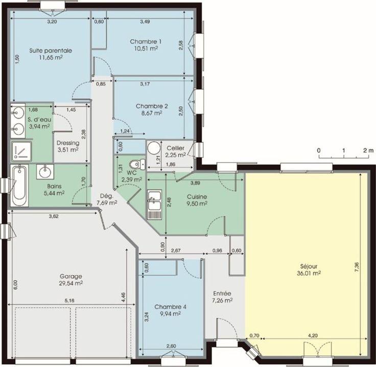 Plan maison moderne 120m2 projet maison pinterest for Plan exterieur maison