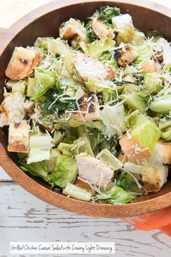 Grilled Chicken Caesar Salad with Creamy Light Dressing - BoulderLocavore.com >> I'm dreaming of packing this tightly into a wrap to make a grilled chicken caesar salad wrap! Yum!!