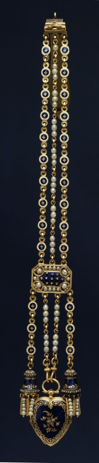 Heart-Shaped Watch and Chatelaine, gold, blue translucent enamel, brilliants and pearls. Swiss, circa 1830-1839