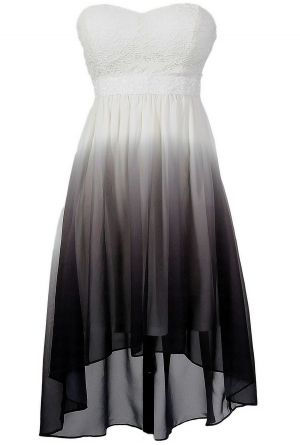 Black, Grey, and White Ombre High Low Dress... if I actually do go to prom this year I'd probably wear this