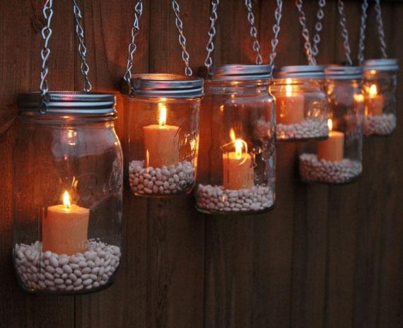 Image of Set of 8 Mason Jar Luminaries - Silver Chain