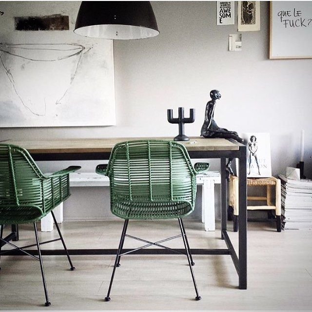 These delicious #army green tub chairs #rattan #hkliving in stock now and available via us @houseoforange #richmond #armadale #melbourne #australia  Image via @mariekerusticusstyling