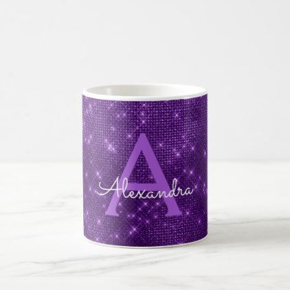 Purple Sparkle Shimmer Monogram Name & Initial Coffee Mug - girly gift gifts ideas cyo diy special unique