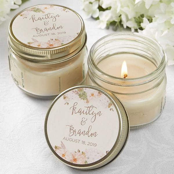 Wedding Gift Candles: Modern Floral Wedding Personalized Mason Jar Candle Favors