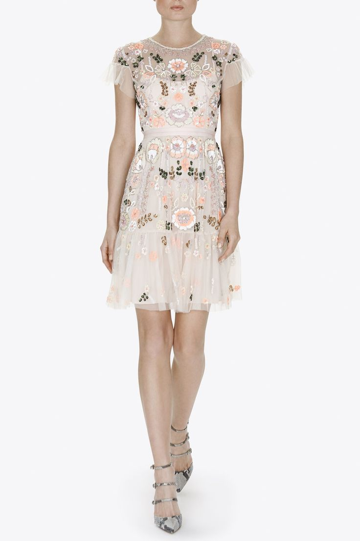 Needle & Thread Floral Tiered Dress in Pastel Pink | Contemporary British Clothing