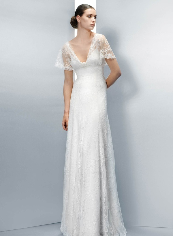 40s Inspired Wedding Dress Neckline But With Fitted Three Quarter