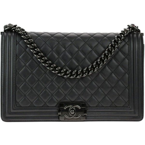 29bbb4bca012 Pre-owned Chanel New Medium So Black Caviar Leather Iridescent Boy Bag  ($5,895) ❤ liked on Polyvore featuring bags, handbags, flap purse, chanel  handbags, ...