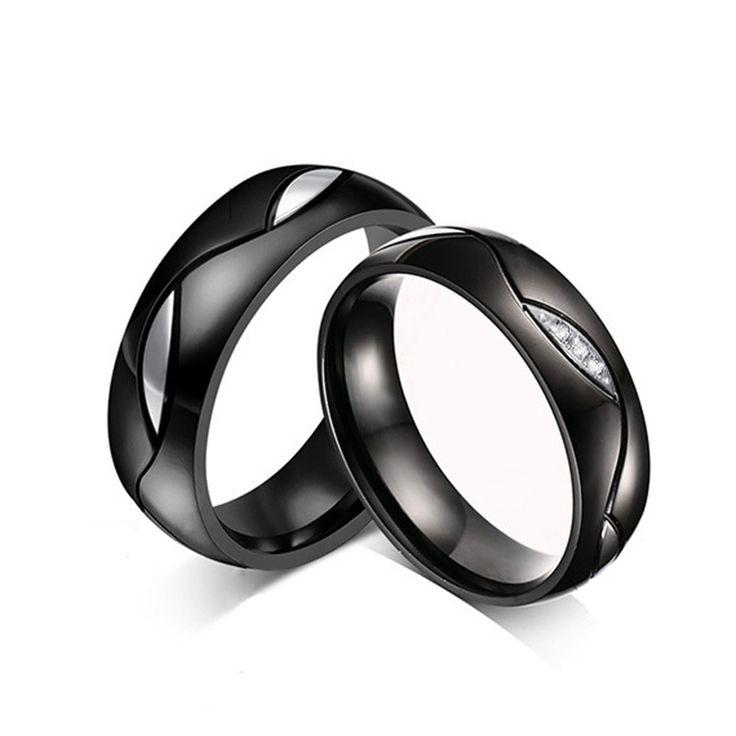 Qualité Zircon Couple Anneau pour Femmes Hommes IP Or Placage Anneau En Acier inoxydable Noir Titanium Wedding Band Anneau Cadeau pour amant