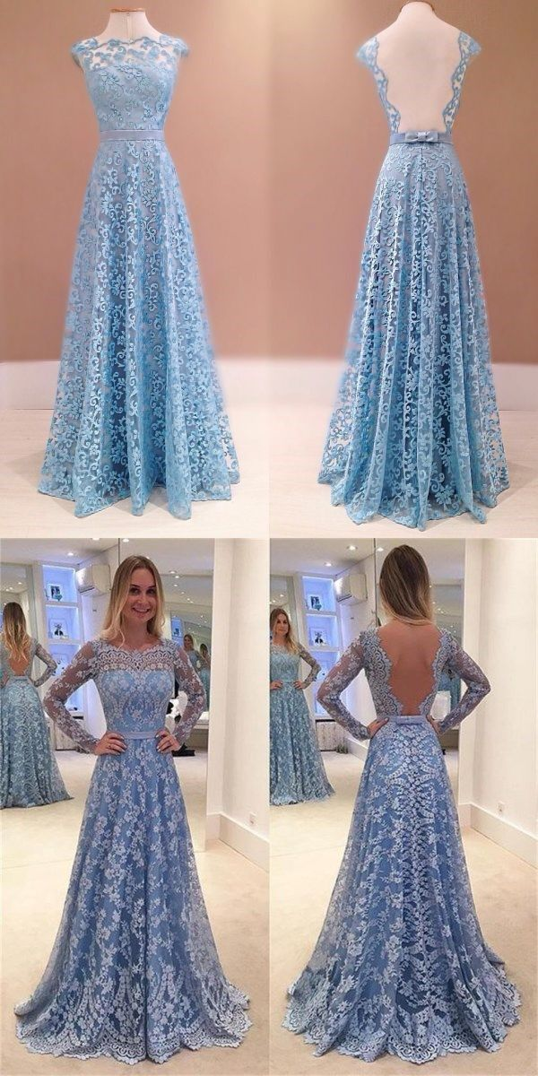 2017 Lace Long Sleeves A-line Formal Party Cocktail Evening Long Prom Dresses Online,PD0182 #sposabridal#promdresses