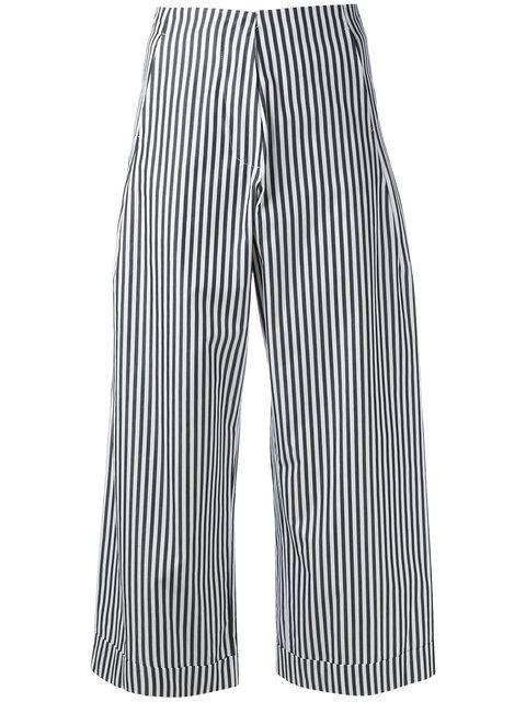 Shop Federica Tosi striped poplin cropped trousers.