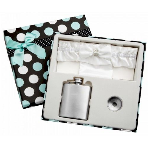 Flasks.com | Wedding Flask with White Garter Belt and Free Personalization