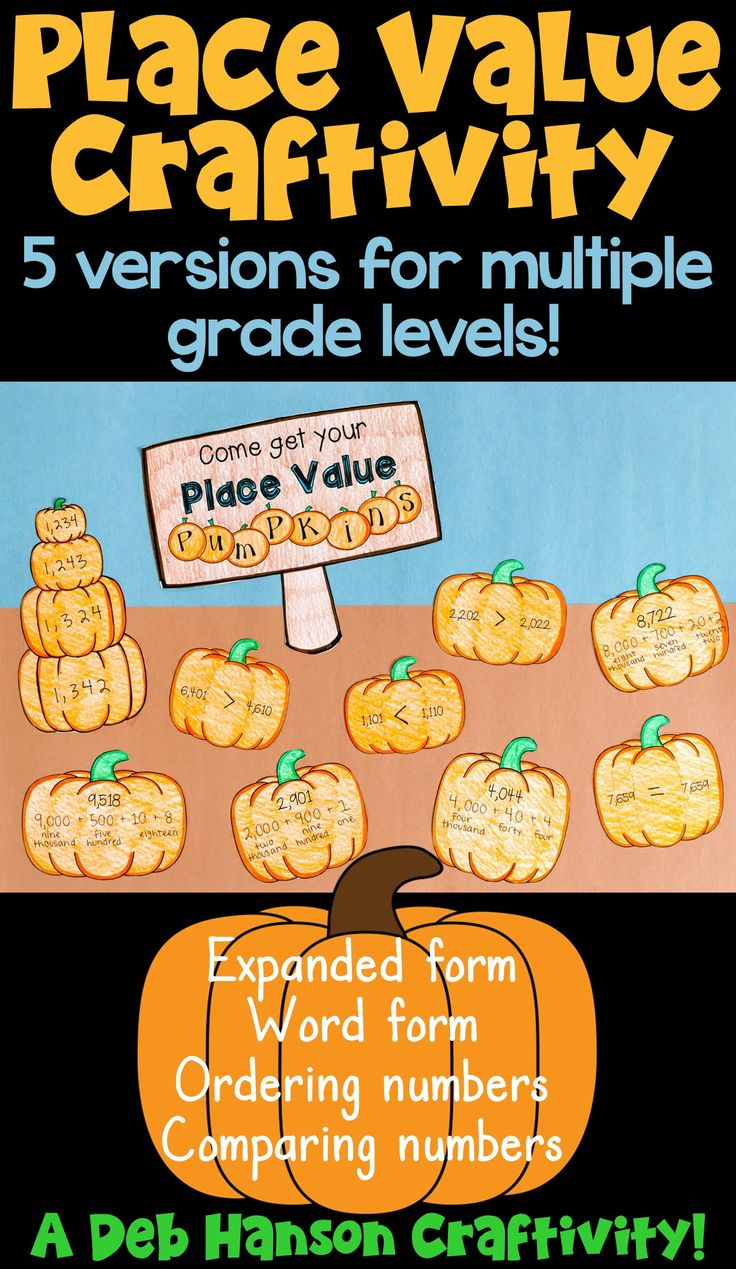 Place Value Pumpkins... a math craftivity perfect for September or October! This file contains 5 versions to allow for differentiation.