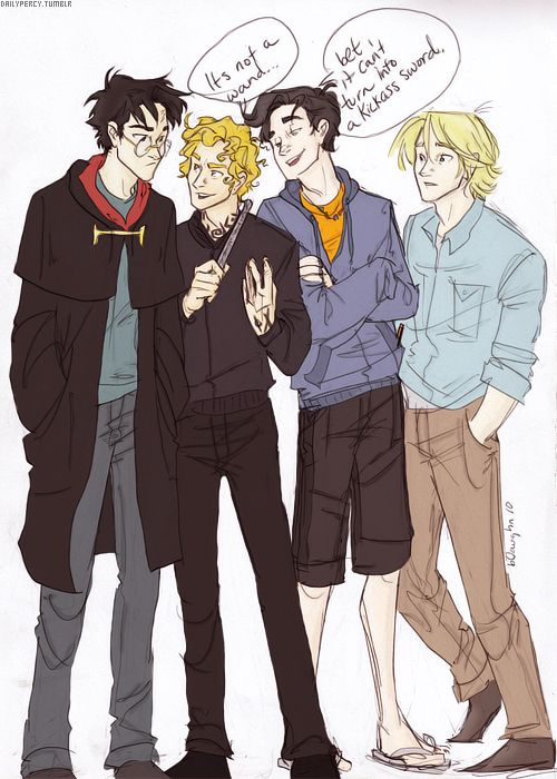 Drawn by: Burdge. Colored by: dailypercy. Harry Potter, Jace Wayland, Percy Jackson and Peeta Mellark.