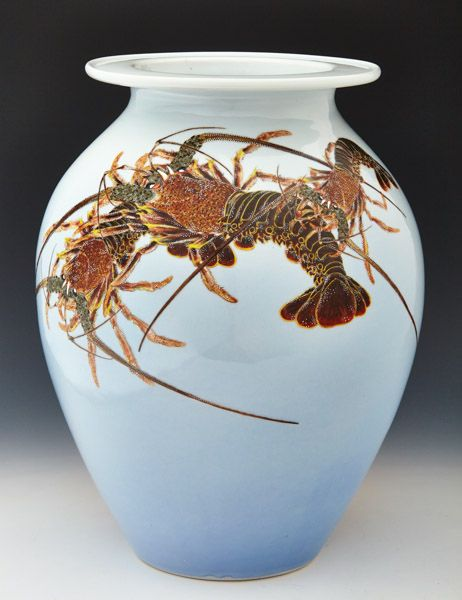 Makuzu Kozan II - Vase with lobsters. This and more important decorative art for sale on CuratorsEye.com