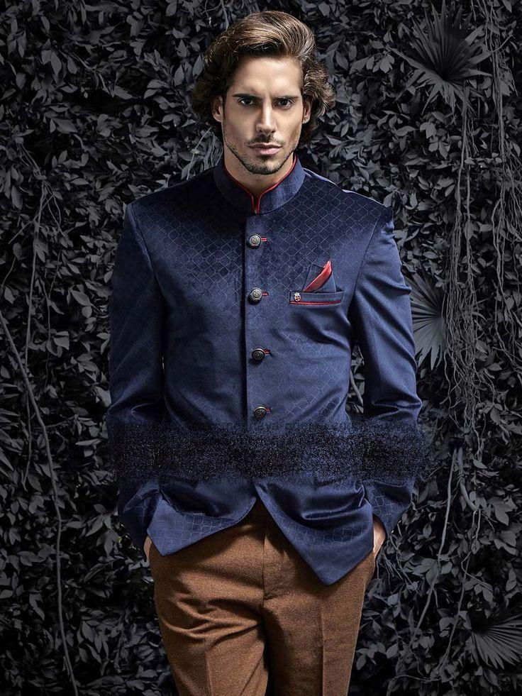Синий бархатный мужской френч (воротник - стойка)   коричневые брюки