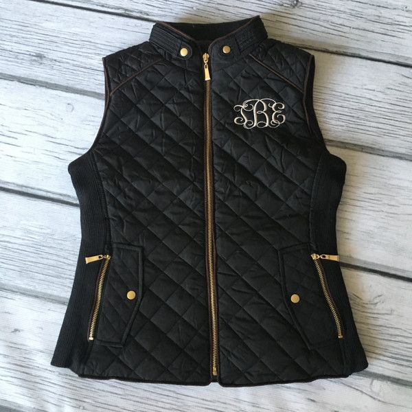 Monogrammed Vest Monogram Puffy Vest Monogram Vest Quilted Vest... (47 AUD) ❤ liked on Polyvore featuring outerwear, vests, black, tops, women's clothing, puffy vests, quilted puffy vest, monogrammed puffer vest, embroidered vest and tartan waistcoat