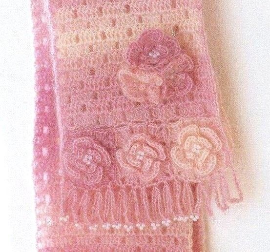 Fine Pink Scarf with Emblossed Flower free crochet graph pattern