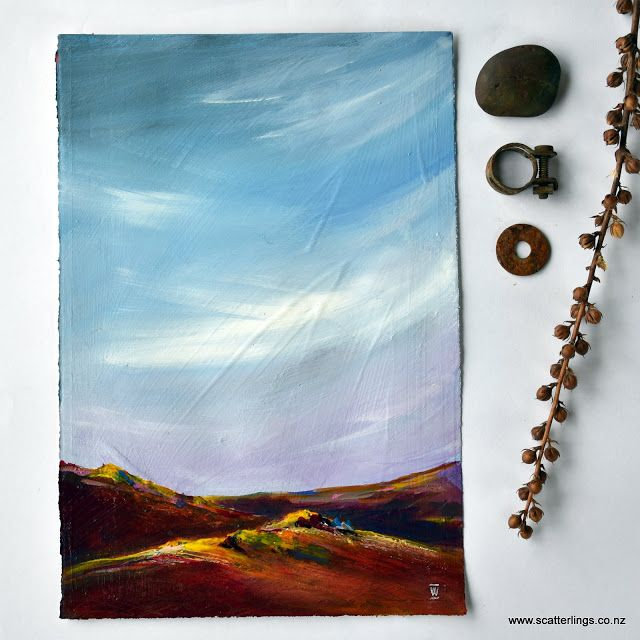 """""""The Crags"""" - abstract Central Otago New Zealand landscape painting"""