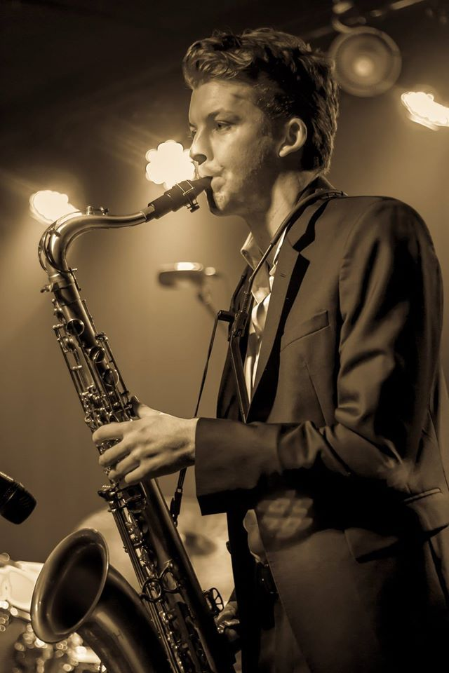Ben Clapin playing sax for Nicola Milan & The Stray Cat Club - at Gangster: Rise of the 1920's electro swing dance party #NicolaMilan. Photo by Zen Sith Fusion.