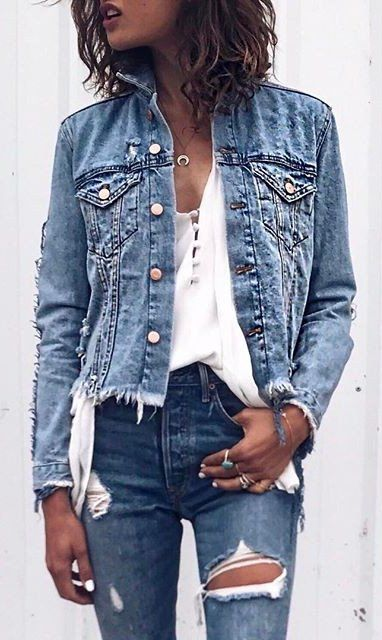 Denim Jacket / White Top / Destroyed Denim