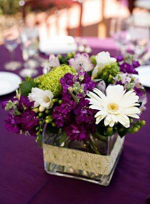 wedding eggplant centerpiece | Simply Elegant Wedding Centerpieces: Purple Wedding Centerpiece Ideas
