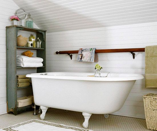 timeless and classic. love the salvaged shelf and vintage stair railing used as a towel bar.