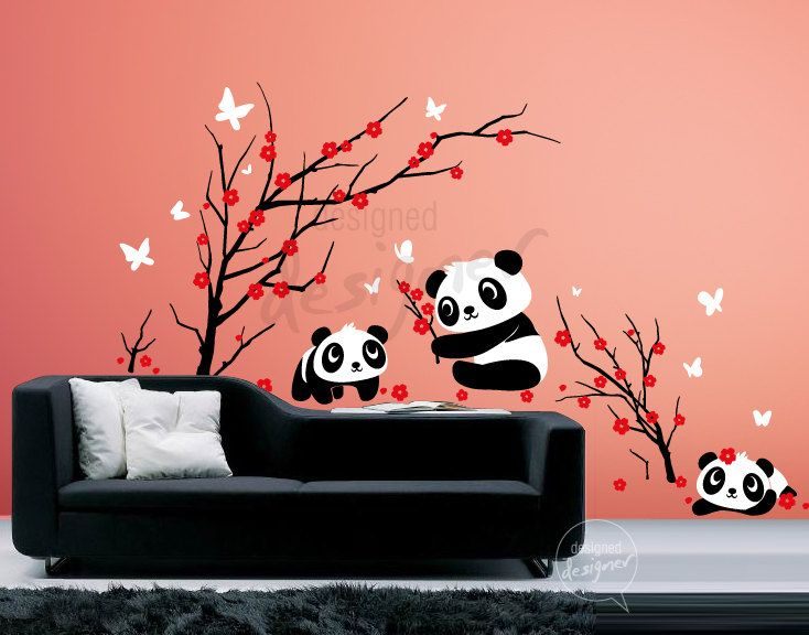 290 best panda things images on pinterest panda bears for Belly button bears wall mural