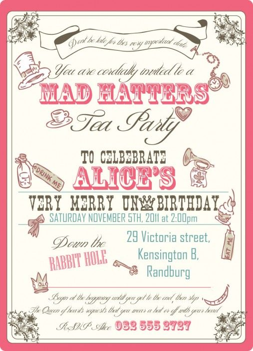 Alice in wonderland mad hatters tea party birthday invitation design by Very Cherry Design Studio