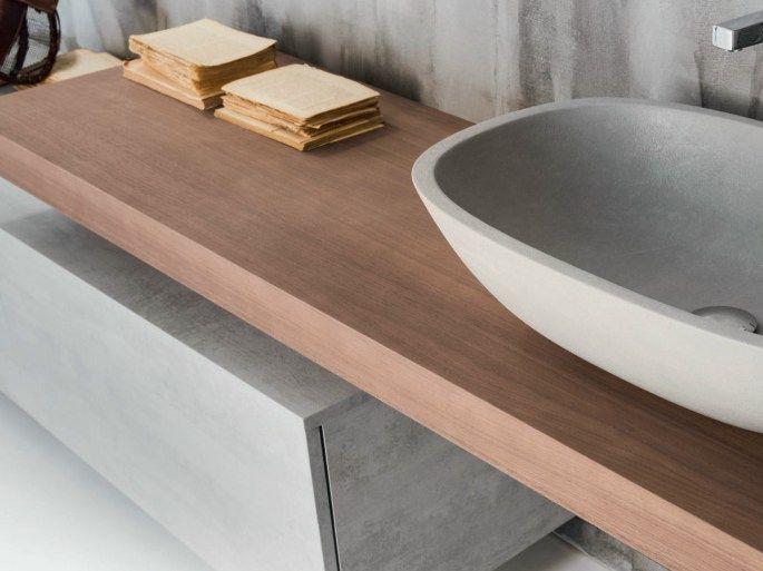 Piano lavabo singolo in legno massello Collezione Via Veneto by FALPER | design Falper Design