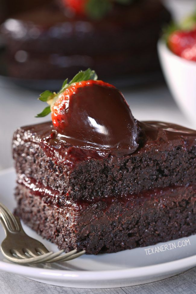 This paleo chocolate strawberry cake has a great texture, chocolate fudge frosting and strawberry filling. Also has whole wheat and all-purpose flour options!