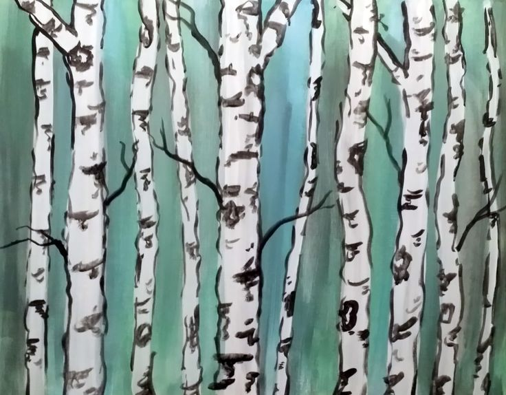 Birch Tree Forest - original by Cocktails 'n Canvas local artist Kerry Walford