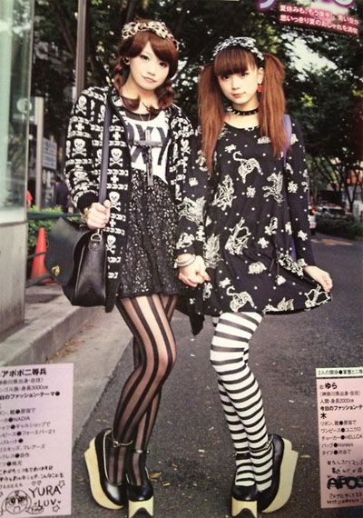 Japanese street fashion - patterned tights