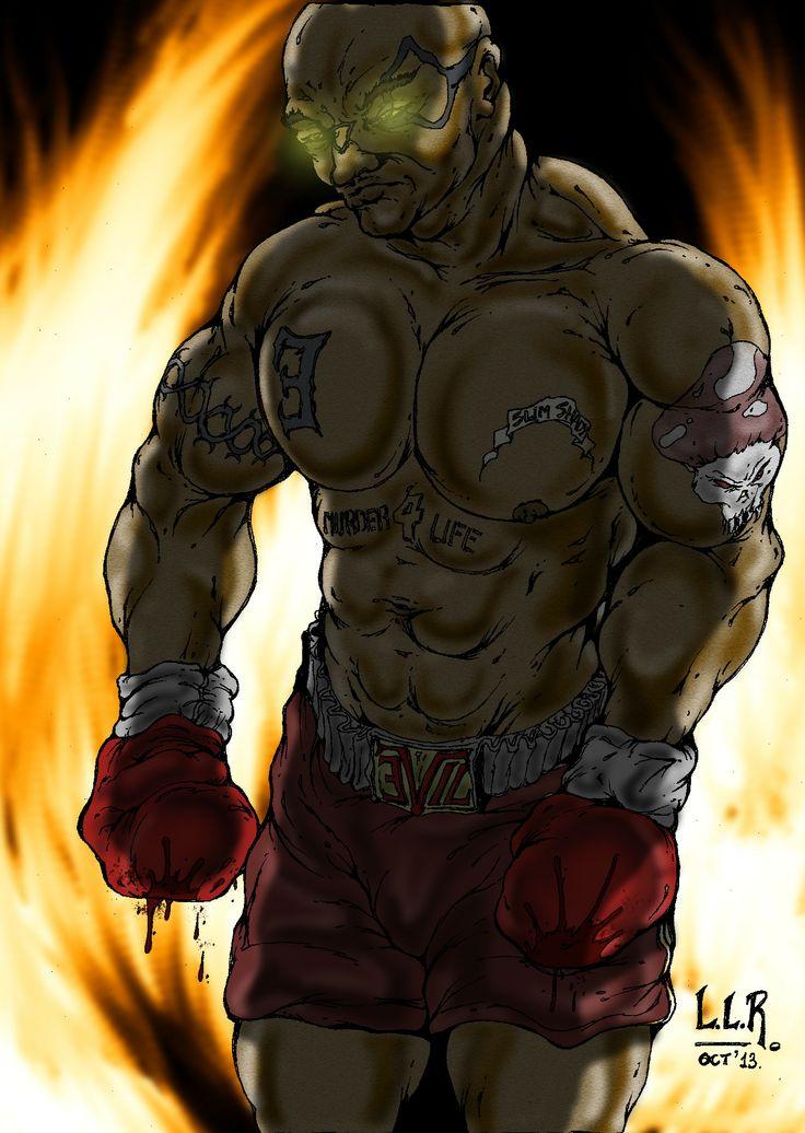 """""""Evil - Luchador del InfraMundo"""" Personaje protagonista del comic homónimo, basado en una idea original de Gastón Sánchez. Ilustración en hoja 17 x 25 cms. - lápiz 2B - estilógrafo 0.1 - color digital con GIMP 2.8 + Wacom Bamboo Connect"""